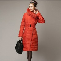 Women : Elegant Long Duck Feather Down Coat YRB0401