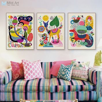 Modern Abstract Colorful Animal Deer Horse llama Posters Nordic Wall Art Prints Pictures Vintage Home Decorative Canvas Painting