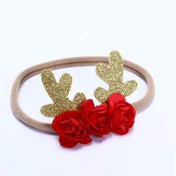 New European Plum Elm Antlers Ear Soft Nylon Headband Flower Bow Hair Band Reindeer Antlers Headband For Kids Christmas