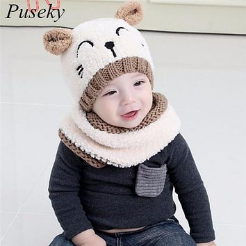 2017 Adorable Hotest Toddler Baby Girls Boys Warm Hat Winter Hooded Scarf Ear flap Knitted Cap Cute Gift Suit For 1-3 T