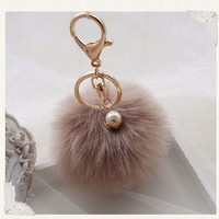 2016 Rabbit Fur Ball Pom Pom Key Chain For Car Cute Fluffy Ball Keychain Bag Pendant Simulation Key Ring Holder Q7