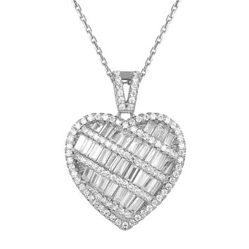 Sterling Silver Baguette Puffed Heart Love Pendant Valentine's