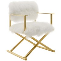 Action Pure White Cashmere Accent Director's Chair