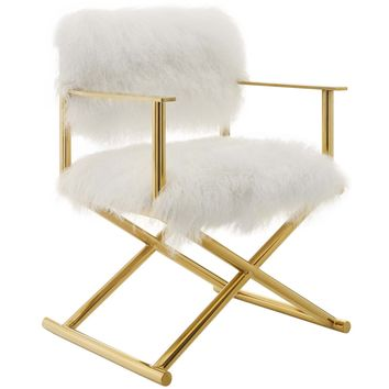 Action Pure White Cashmere Accent Director's Chair Gold White EEI-3269-GLD-WHI