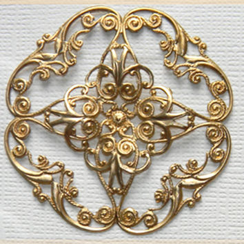 Brass Filigree Ornate Round Cross Dapped Dapt Stamping Wrap Pendant 48mm - 2 pcs.