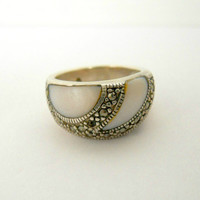 Vintage Sterling Silver MOP Marcasite Ring Size 5.75