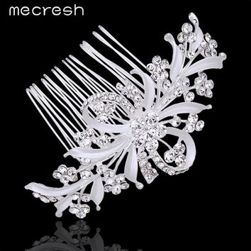 Mecresh 2017 Elegant Floral Leaf Crystal Bridal Hair Combs Fashion Silver Color Hairpin Bow Wedding Hair Accessories MFS108