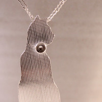 "Sterling Silver Kitty Silhouette Necklace- with Roller Printed Texture & Bell Collar- on 18"" sterling silver peanut chain"