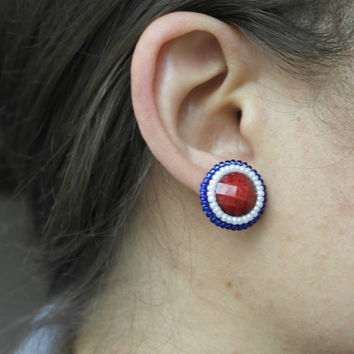 America Patrioric Stud Earrings 4th July Blue Red White Resin Cabochon Flatback Stud Small Cute Gift For her Teens Sympathy