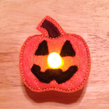 Jack O'Lantern battery operated light up tealight pin embroidered, pumpkin, halloween, holiday, brooch, jewelry, accessories, tea light