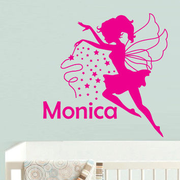 Wall  Decal Vinyl Sticker  Decor Art Bedroom Design Mural Nursery Kids Baby Custom Name Personalized Stars Fairy (z978)