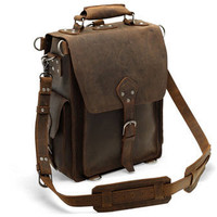 "12'' Laptop Messenger Bag (average 17"" laptop) - Dark Brown Vintage Style Backpack"