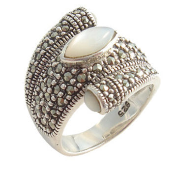 Marcasite with Mother Of Pearl Silver Ring