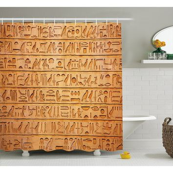 Egyptian Decor Fabric Shower Curtain Set, Hieroglyphics Great Pyramid Papyrus Magical Ancient Stone Carving Cave Painting Pictur
