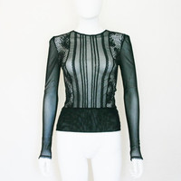 Sheer mesh Lace Long Sleeve Shirt / 90's clothing