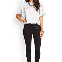 Zippered Midrise Skinny Jeans