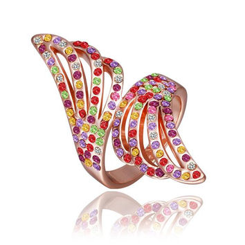 Rose Gold Plated Floral Orchid Rainbow Jewels Ring