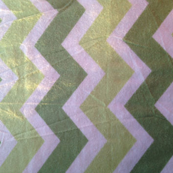 Zig Zag Green and White Chevron Flannel Fabric 1 Yard, more available