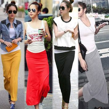 Summer Skirts Women Sexy Chic Pencil Office Full Length Mid Waist Mid-Calf Solid Skirt Casual Slim Package Hip Lady Skirts