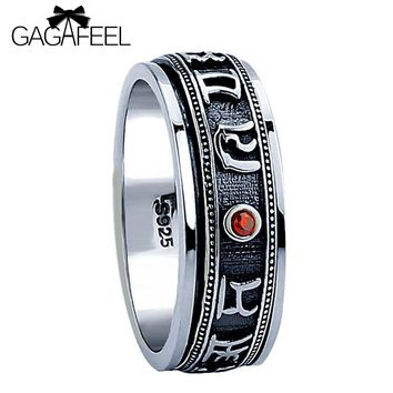 100% Pure 925 Sterling Silver Punk Red Stone Rotatable Ring Thai Silver