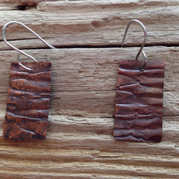 Forged copper metal earrings, organic wrapped copper with patina, rustic copper earrings, geometric metal  jewelry, metalwork, handmade