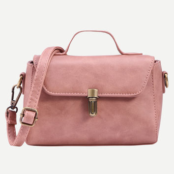 Pink Faux Leather Push Lock Satchel Bag