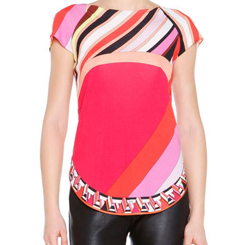 Short-Sleeve Printed Silk Colorblock Top, Size: