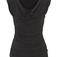 Basic Sleeveless Drape Neck Top