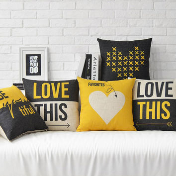 New Fashion Love This Bed Sofa Decorative Throw Pillow Heart Print Home Decor Cushion Cover Linen Cojines Free Shipping