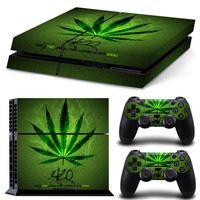 Weed Vinyl Skin Sticker Cover For PS4 Console and 2pc Controller Decal For Dual Shock 4 control For PlayStation 4 Accessories