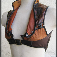 Fleur-De-Lis Steam Punk Leather Vest with Long Fur Cowhide Inlay