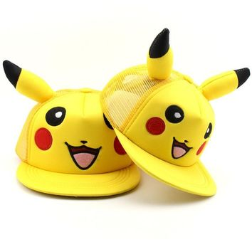 Trendy Winter Jacket 2018 New Fashion Anime Cartoon Pokemon Pikachu Baseball Caps Parent-Child Adult Children Hip Hop Hats Outdoor Shade Cap AT_92_12