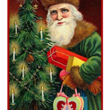Victorian Father Christmas Santa Delivering Presents a Tree and Candy Heart Counted Cross Stitch or Counted Needlepoint Pattern
