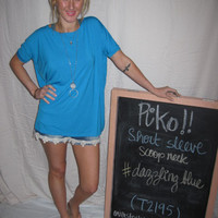 Dazzling Blue Short Sleeve Scoop Neck Piko Shirt On Sale | Overstock Boutiques