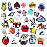 Butterfly Sushi shell Hamburger Scissors Patch Badges Embroidered Applique Sewing Clothes Stickers Garment Apparel Accessories
