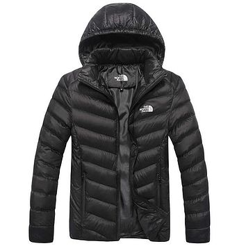 The North Face Popular Long Sleeve Print Men  Women Lover's Sports Cotton Hoodie Coat Windbreaker Black