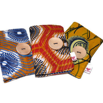 Fabric Business Card Holders / Gift Card Holders / Credit Card Holders in african fabric / Red Blue Orange