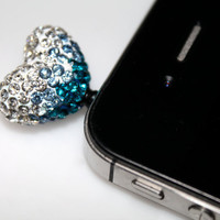 20mm x 20mm Heart Sparkly Rhinestone Blue Ombre Dust Plug