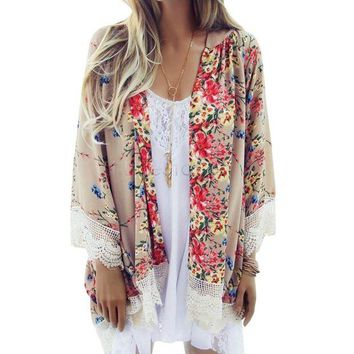NOVO5 Floral Pattern Printed Cape Knits Lace Kimono Cardigan Blouse  Tops Batwing Sleeve