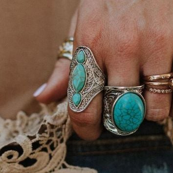 Triple Gypsy Turquoise Ring