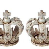 "One Kings Lane - Chelsea Manor - S/2 7"" Crown Candleholders"