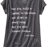 Old Navy Girls Bob Dylan Lyrics Tee