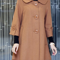 doll style wool Overcoat Single breasted Seven cents Sleeve wool coat