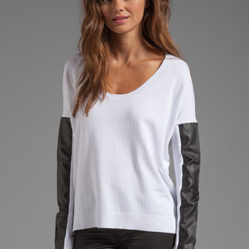 Central Park West Sewanee Vegan Leather Sleeve Sweater in White