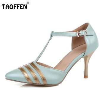 ladies high heel  pointed ankle strap footwear  P23489