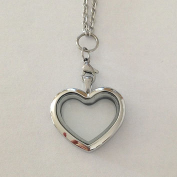 Living floating memory charms heart locket large 30mm stainless steel