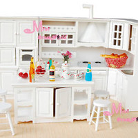 Dining Kitchen Cabinet Island Cupboard Stool 8PCS Dollhouse Miniature WD11W