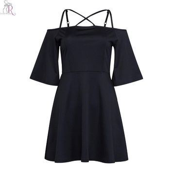 Black Half Bell Sleeve Off Shoulder Mini Party Skater Dress Spaghetti Strap Cross Back Sexy Clubwear Women Summer