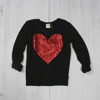 Sequin Heart Patch Sweatshirt Jumper - Black w Red Sequin Heart Patch