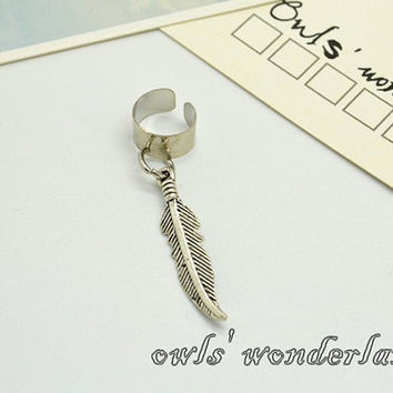 Feather Ear Cuff ,leaf earrings,antique silver cute feather ear cuffs